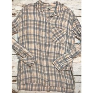 Calvin Klein Beige Plaid Flannel Tunic Button Down